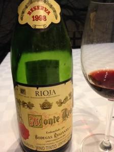 Monte Real 1998 maduro después de un tiempo en vidrio...